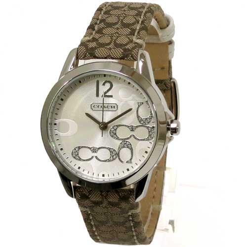 COACH コーチ アウトレット クラシック シグネチャー スモールC ホワイト&ストーン レディース 腕時計 14501620