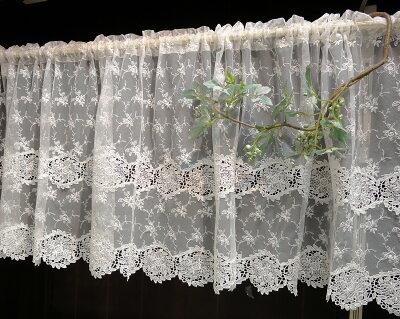 【送料無料】【縦45cm】とっても可愛い綺麗、ミニバラアイボリーチュールカフェカーテン川島織物セルコン大人の薔薇生活