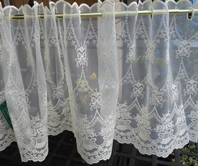 【縦45cm】アイボリーフランス生地使用縫製日本『カフェカーテン』少し張り感の有るボイルにコットン刺繍ショート川島織物セルコン【RCP】小窓用