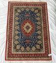 ペルシャ絨毯 サイズ:205×132 産地:クム 作者:レザイ 材質:シルク【送料無料】【同梱不可】【RCP】【店頭受取対応商品】