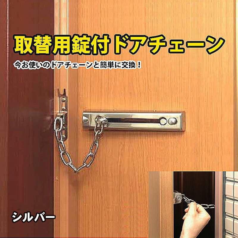 取替用錠付ドアチェーン シルバー 取替用 錠付ドアチェーン ガードロック チェーンでロック ドア用 補助錠 防犯用品 玄関 防犯グッズ