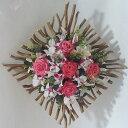 造花アーティフィシャル壁掛けアレンジ ピンクバラ、デンファレ WL-6-高さ55cm×巾55cm造花・光触媒
