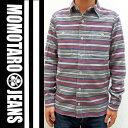 《桃太郎ジーンズ》オリジナルヘリンボーンボーダーワークシャツ/Lot.05-088/Col.BLUE 【2015AW_NEW_ITEM】