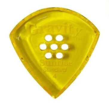 【ポイント5倍】【メール便・送料無料・代引不可】【3枚セット】GRAVITY GUITAR PICKS GSUS4PM Sunrise -Standard- [4.0mm with Multi-Hole/Yellow] アクリル ピック【smtb-TK】