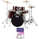 【ポイント3倍】【送料込】【教則DVD付】Pearl/パール RS525SCW/C ROADSHOWシリーズ ビギナー向けドラムフルセット /No.91/レッドワイ..