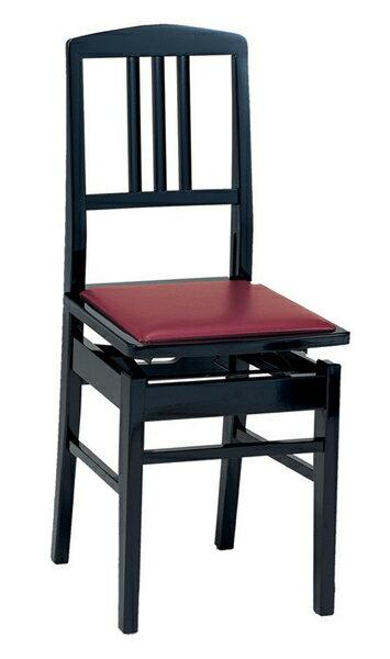 【ポイント2倍】【送料込】甲南/KONAN No.5/黒 背もたれ付高低自在ピアノ椅子/トムソン椅子 日本製