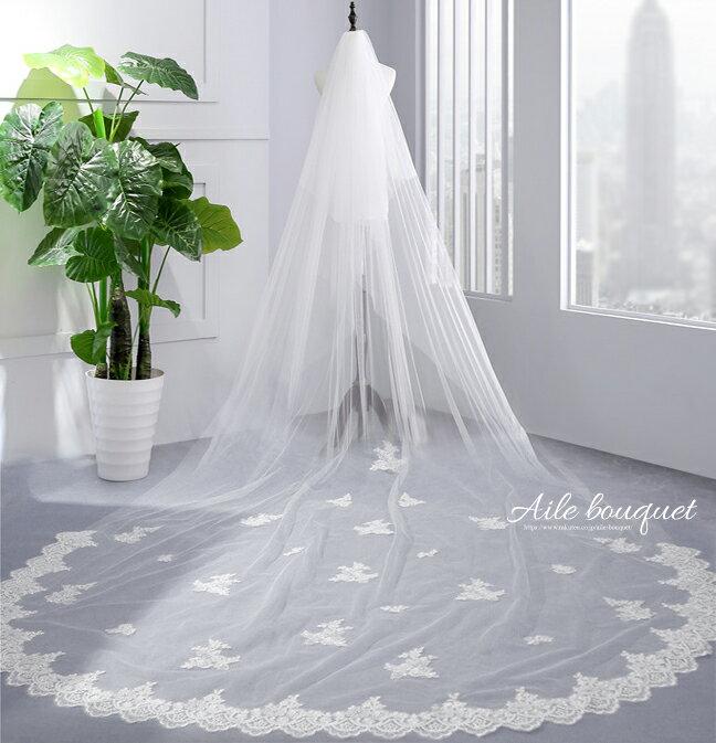 ウェディングベール 3m フェイスアップベール ロングベール コーム付 ホワイト オフホワイト 結婚式 ウェディング ブライダル