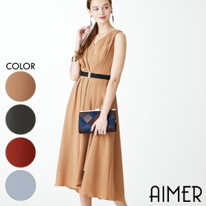 【Aimer Acret】ベルトセット・Vネックセミロングドレ
