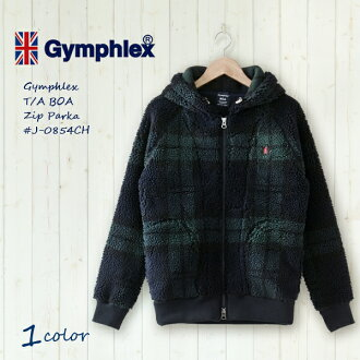 The arrival in winter latest the <autumn of 2013!> Gym flextime boa jacket boa zip up parka Black Watch # J-0854CH   Gymphlex   BOA   Fleece   Lady's size women   Autumn of 2013 winter   2013AW