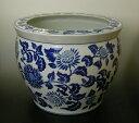 """青花丸型大型魚鉢 16""""洋蓮青色メダカ鉢・金魚鉢としても使用できます"""