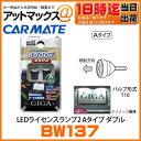 【あす楽18時まで】 BW137 カーメイト CARMATE LEDライセンスランプ2 Aタイプ ダブル 6500K バルブ形式:T10 純白色 車検対応 12V車専用 【ゆうパケット不可】