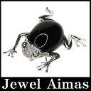 【ジュエリー】 オニキス 20.2ct ダイヤモンド 0.20ct カエル ペンダントトップ ブローチ K18WG【中古】