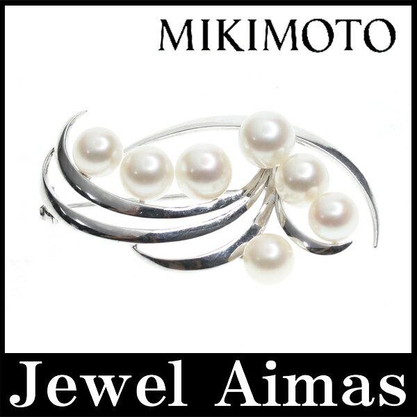 【MIKIMOTO】ミキモト パール アコヤパール あこや真珠 7-8mm ブローチ K14WG【】【小物】201706海外 ミキモト パール ブローチ