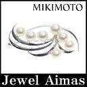 【MIKIMOTO】ミキモト パール アコヤパール あこや真珠 7-8mm ブローチ K14WG【中古】【小物】