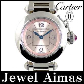 Cartier Miss Pasha W3140008 pink dial SS stainless steel ladies quartz