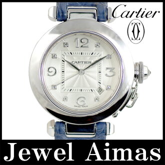 Cartier Pasha 32 WJ 111156 date 8 p diamond silver letter Edition 750 K18 WG white gold sole skeleton blue genuine leather strap Croc ladies automatic