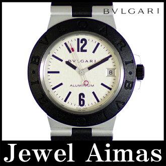 Bulgari aluminum AL38A date Silver Dial aluminum rubber mens quartz