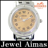 【HERMES】エルメス クリッパー CL4.210 ピンク 文字盤 デイト SS ステンレス レディース クォーツ【中古】【腕時計】