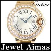 【Cartier】カルティエ バロンブルー SM WE9002Z3 純正ダイヤベゼル シルバー 文字盤 K18 PG ピンクゴールド 金無垢 レディース クォーツ【中古】【腕時計】