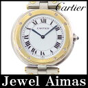 【Cartier】カルティエ サントス ラウンド ホワイト 文字盤 YG イエローゴールド SS ステンレス コンビ レディース クォーツ【中古】【腕時計】