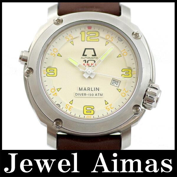 【ANONIMO】アノーニモ MARLIN DIVER マリン ダイバー 150m 7001 アイボリー 文字盤 SS Sutennresu  純正ベルト メンズ 自動巻き【】【腕時計】 アノーニモ マリンダイバー