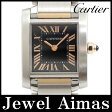 【Cartier】カルティエ タンクフランセーズ SM W5010001 ブラック 文字盤 K18 PG ピンクゴールド SS ステンレス コンビ レディース クォーツ【中古】【腕時計】