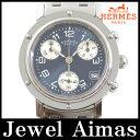【HERMES】エルメス クリッパー クロノグラフ CL1.310 ブルー 文字盤 デイト SS ステンレス レディース クォーツ【中古】【腕時計】