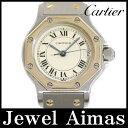 【Cartier】カルティエ サントス オクタゴン SM アイボリー 文字盤 YG イエローゴールド SS ステンレス コンビ レディース クォーツ【中古】【腕時計】