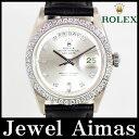 【ROLEX】ロレックス デイデイト 1804A ダイヤベゼル 10Pダイヤ シルバー 文字盤 WG ホワイトゴールド レザーストラップ 自動巻き メンズ アンティーク DayDate Diamond Antique