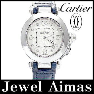 Cartier pasha 32mm WJ111156 750WG back skeleton white clockface K18WG 18KWG diamond 8P self-winding watch automatic leather strap black lump roux blue light blue Lady's watch
