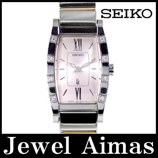 【SEIKO】セイコー ルキア 1F20-0BK0 8Pダイヤモンド ベゼル ピンク 文字盤 SS ステンレス コンビ レディース クォーツ【】【腕時計】 セイコー ルキア ダイヤ