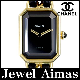 Chanel première L size H0001 gold black dial YGP ladies quartz