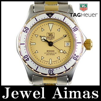 Tag Heuer 2000 series professional 974.008 200 m waterproof date Gold Dial SS stainless steel Combi ladies quartz
