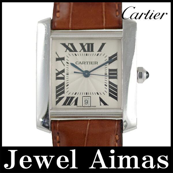 【Cartier】カルティエ タンクフランセーズLM シルバー 文字盤 750 K18 WG ホワイトゴールド メンズ 自動巻き【】【腕時計】 カルティエ タンクフランセーズLM 金無垢