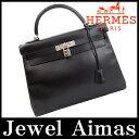 【HERMES】エルメス ケリー 32 ハンド バッグ ブラック 黒 シルバー 金具 ボックスカーフ 内縫い【中古】