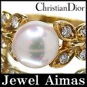 【Christian Dior】クリスチャンディオール パール 真珠 8.7mm ダイヤモンド 0.33ct ちょうちょ  リング 10.5号 K18YG【中古】ZPL