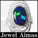 天然ブラックオパール 4.57ct ダイヤモンド 0.98ct リング 10.5号 PT900 <遊色効果> 【新品】【ジュエリー】ZPJ