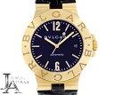 手錶 - 【BVLGARI】ブルガリ ディアゴノ スポーツ LCV38G ブラック 黒 文字盤 K18YG イエローゴールド 金無垢 純正ベルト 純正YG尾錠 メンズ 自動巻き【中古】【腕時計】