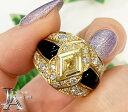 オニキス ダイヤモンド 1.28ct イエローダイヤモンド 0.97ct 菱形 幅広デザイン リング 16号 K18YG イエローゴールド【中古】【ジュエリー】MEJZ