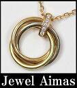 【Cartier】 カルティエ トリニティSM スリーゴールド ダイヤモンド B7058700 ネックレス 750YG/WG/PG 【中古】