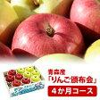 食べくらべりんご(林檎) 頒布会(はんぷかい) 4か月分(12月〜3月) 青森県産 1箱約3kg詰合せ 送料込み| 毎月旬の果物(フルーツ)をお届け