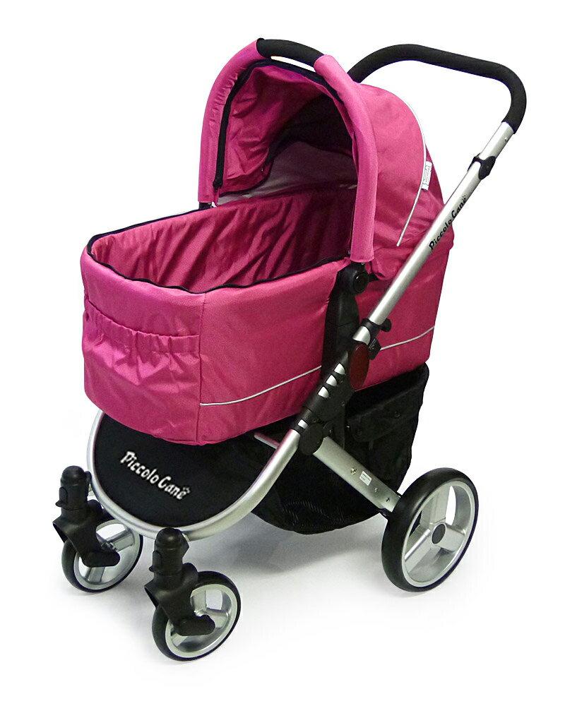 【ピンク】【ペット カート】ピッコロカーネ 対面式ペットカート TANTO【耐荷重30kg】【送料無料】レインカバー&ボトルホルダー付き。 耐荷重いっぱいの30kg乗っても楽々操作できるプレミアムペットカート