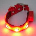 【送料無料】光る首輪LEDカラーお散歩ライト(レッド)(XS〜Lサイズ)【あす楽対応】