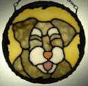 ステンドグラスパネル『微笑みシュナウザー2』