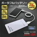 【ゆうパケット送料無料】ポータブルバッテリー USBポート リチウム バッテリー 充電器 大容量3000mAh microUSBケーブル付 急速充電 スマホ iPhone iPad 携帯
