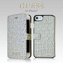 GUESS(ゲス)・公式ライセンス品iPhone7 クロコ PUレザー 手帳型 ブック ケース ブランド モノグラム プリント カバー ジャケット アイフォン7