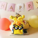 【送料無料】おむつバイク 男の子 女の子 オムツバイク おむつケーキ ミニオン 出産祝い おむつ33枚 イニシャルタグ付き