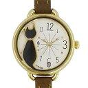 ■フィールドワーク 腕時計 ウォッチネコ 黒猫 ブラウン FSC079D