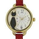 ■フィールドワーク 腕時計 ウォッチネコ 黒猫 レッド FSC079F