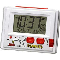 大特価[電池無し]■リズム時計【スヌーピー R126 <strong>電波</strong>デジタル 温・湿度計付目覚し時計 ジャストウェーブ】8RZ126RH03  [代引不可][後払い不可]【楽ギフ_包装選択】